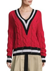 Rag And Bone Emma Cable Knit Sweater Red White