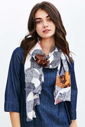 Urban Outfitters Abstract Landscape Print Blanket Scarf Grey Multi