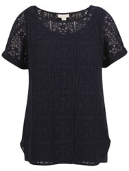 Celuu Abbie Lace Shell Top Navy