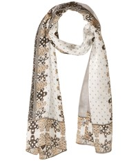 Vince Camuto Floral Borders Oblong Grey Scarves Gray