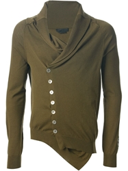 Alexander Mcqueen Asymmetric Draped Cardigan Green