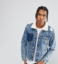 Brooklyn Supply Co. Co Bleach Borg Denim Jacket With Rips Bl1 Blue 1