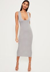Missguided Grey Jersey Square Bust Midi Dress Ice Grey