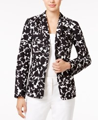 Tommy Hilfiger Floral Print Open Front Blazer Only At Macy's Deep Black