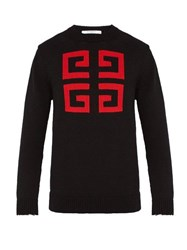 Givenchy Logo Patterned Cotton Sweater Black Red