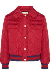 Gucci Quilted Shell Bomber Jacket Red