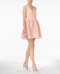 Bar Iii Striped Mesh Fit And Flare Dress Only At Macy's Ballet Pink