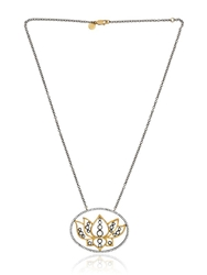 Sara Weinstock French Lace Lotus Necklace Gold Silver