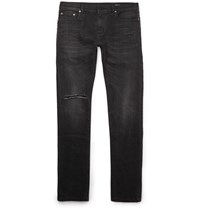 Saint Laurent Skinny Fit 15Cm Hem Distressed Stretch Denim Jeans Black