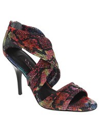 Nina Celeyna Embossed Stretch Mesh Leather Strappy Sandals Rainbow