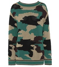 Burberry Camouflage Cotton Sweater Green