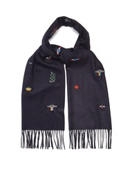 Gucci Embroidered Print Scarf Navy Multi