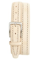 Nordstrom Men's Big And Tall Men's Shop Perforated Suede Belt Cream
