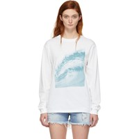 6397 White Wave Print Long Sleeve T Shirt
