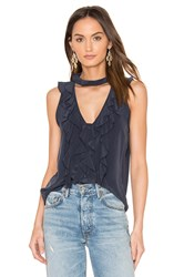 Roi Le Ruffle Shell Top Navy