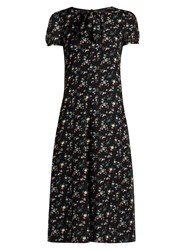 Saint Laurent Floral Print Georgette Midi Dress Black Multi