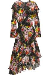 Preen By Thornton Bregazzi Cassidy Asymmetric Printed Devore Silk Chiffon Dress Black