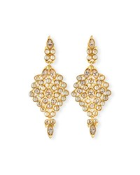 Oscar De La Renta Teardrop Crystal Statement Earrings Gold