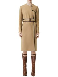 Burberry Wool Blend Coat W Leather Details Honey