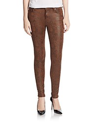 7 For All Mankind Snake Print Coated Skinny Jeans Chocolate Multi
