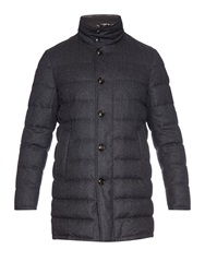 Moncler Vallier Quilted Down Flannel Coat