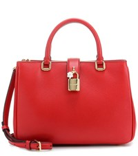 Dolce And Gabbana Shopping Small Leather Cross Body Bag Red