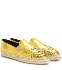 Bottega Veneta Intrecciato Metallic Leather Espadrilles Gold