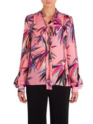 Emilio Pucci Silk Tie Neck Blouse Pink Base Bamboo Print