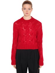 Prada Mohair Blend Knit Cropped Sweater Red