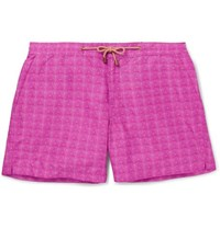 Thorsun Slim Fit Mid Length Printed Swim Shorts Pink