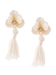 Jennifer Behr Floral Drop Earrings White