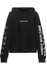 House Of Holland Oversized Embroidered Cotton Terry Hoodie Black