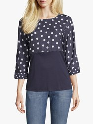 Betty And Co. Polka Dot Top Navy