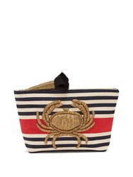 Sanayi 313 Granceola Embroidered Stripe Pouch Red Multi