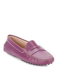 Tod's Slip On Leather Penny Loafers Pink