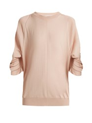 Stella Mccartney Ruched Sleeve Wool Blend Sweater Nude
