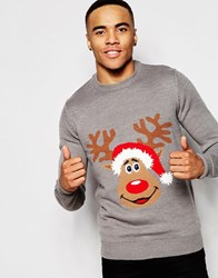 New Look Christmas Reindeer Jumper Grey