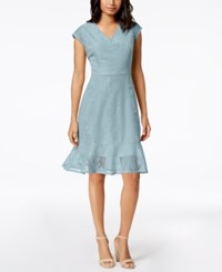 Ny Collection Petite Lace Ruffle Hem Dress A Macy's Exclusive Style Navy Linelace