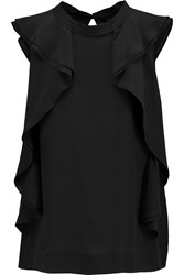 Marc By Marc Jacobs Frances Ruffled Silk Crepe De Chine Top Black