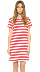 Edith A. Miller Boyfriend Mini Dress Red Natural Wide Stripe