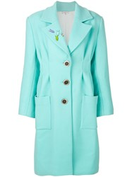 Natasha Zinko Oversized Bunny Pin Coat Silk Wool Polyimide Green