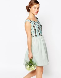 Maya Petite Off Shoulder Embellished Bust Mini Prom Dress Mint Green