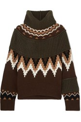 Sacai Fair Isle And Waffle Knit Wool Blend Turtleneck Sweater Brown