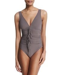 Karla Colletto Fringe Front Underwire V Neck One Piece Swimsuit Morel