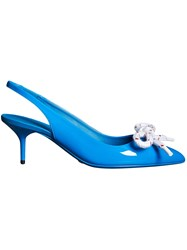 Burberry Rope Detail Patent Leather Slingback Pumps Blue