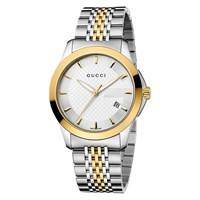 Gucci Men's G Timeless Two Tone Stainless Steel Bracelet Strap Watch Silver Gold