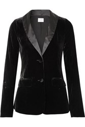 Cami Nyc The Emmie Stretch Silk Charmeuse Trimmed Velvet Blazer Black