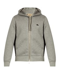 Burberry Mesh Panel Hooded Neoprene Sweatshirt Grey Multi