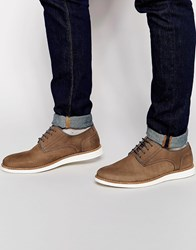River Island Leather Derby Shoes With Contrast Wedge Sole Tan