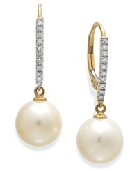 Macy's Cultured Freshwater Pearl 9 1 2Mm And Diamond 1 10 C.T. T.W. Leverback Earrings In 14K Gold Black